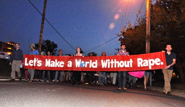Gregory Zajac/The Maneater Students participating in Take Back the Night march on Thursday around campus streets. The march was intended to raise awarness of rape and sexual crimes on campus.