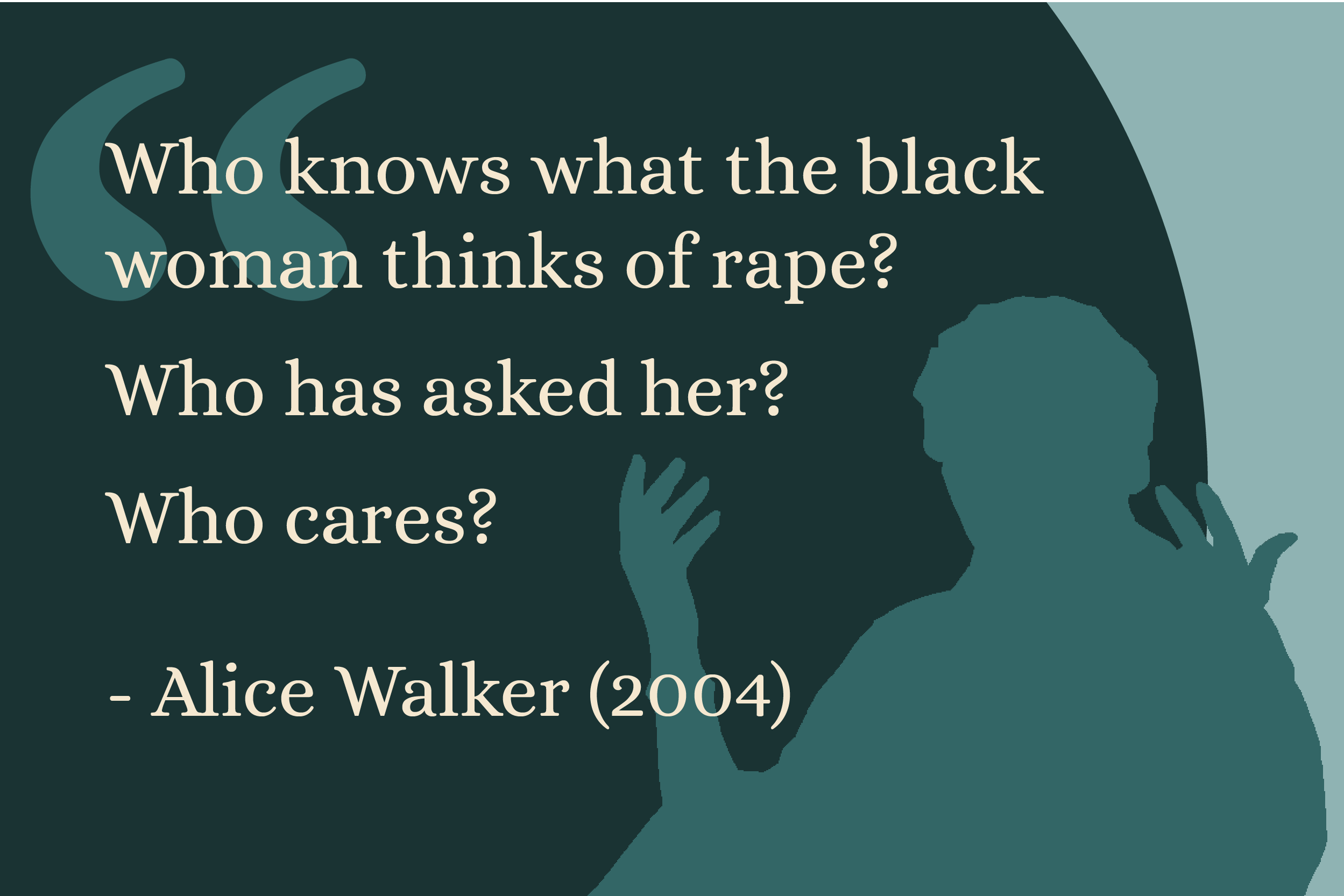 """Who knows what the black woman thinks of rape? Who has asked her? Who cares?"" - Alice Walker (2004)"